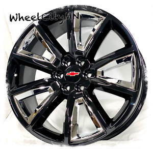 22 Inch Gloss Black Chrome 2015 Chevy Tahoe Ltz Oe 5696 Replica Wheels 6x5 5