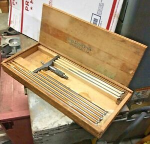 Brown Sharpe 607 0 9 Depth Micrometer Gage Set Machinist Tool Maker Box Find