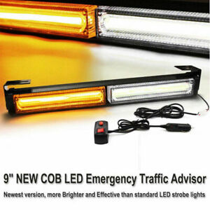 9 To 35 Cob Amber Strobe Light Bar Traffic Advisor Emergency Warning Flash