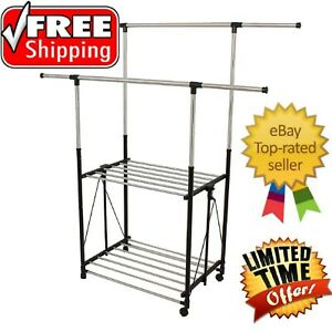 Greenway Stainless steel Collapsible Double bar Garment Rack Free Shipping