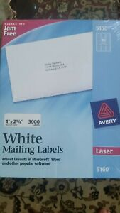 New Sealed Avery 5160 Quick Peel 1 X 2 5 8 White 3000 White Address Labels
