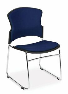 Multi Use Navy Fabric Stain Resistant Stack Office Side Chair W sled Metal Base
