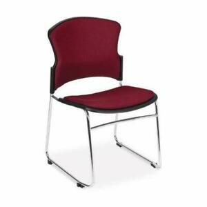 Multi Use Wine Fabric Stain Resistant Stack Office Side Chair W sled Metal Base