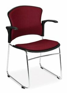 Multi Use Wine Fabric Stain Resistant Office Side Chair With Arms