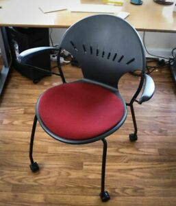 Versteel Chela Ergonomic Stacking Upholstered Arm Guest Office Chairs W casters