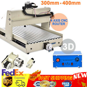 Cnc Router 4 Axis 400w 3040 Engraving Mill Engraver Machine Metal Wood Cut Ups