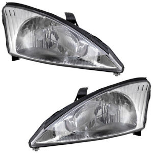Pair Headlights Fits 00 04 Ford Focus Halogen Headlamps Set With Chrome Bezels
