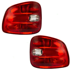 Pair Tail Lights Fit 1997 2000 Ford F 150 Flareside Pickup Truck Taillamps Set