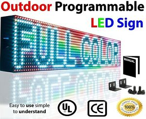 Open Neon Led Signs Full Color 7 x 25 Outdoor Programmable Still Scroll Text