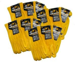 12 Pack Wells Lamont All purpose Usage Cowhide Leather Gloves Medium