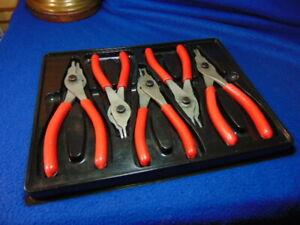 Snap On 5 Piece Red Convertible Snap Ring Plier Set Srpc105 Great Condition