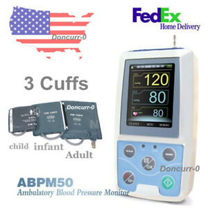 Us Shipping Ambulatory Dynamic Contec Abpm50 Blood Pressure Monitor 3cuffs