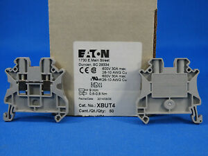 30 Eaton Xbut4 Din Rail Mount Terminal Block 2 Positions 26 Awg 10 Awg