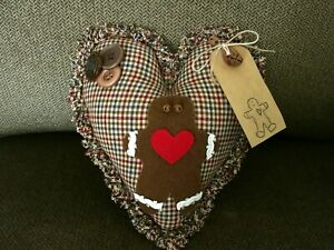 Handcrafted Ragged Edge Gingerbread Man Pillow