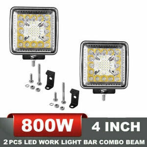 800w 4inch 4pcs Cree Led Work Lights Pod Spot Flood Combo Offroad Driving Light