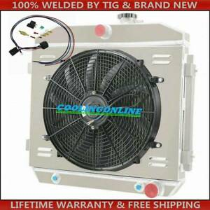 4 Row Radiator Shroud Fan Thermostat For 55 57 Chevy Bel Air Nomad 210 150 V8