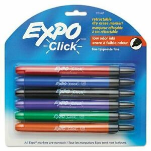 Expo 1751667 Click Dry Erase Markers Fine Tip Assorted 6 set