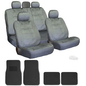 For Kia Premium Grade Grey Velour Fabric Car Seat Covers And Mats Set