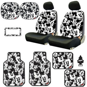 For Nissan New Mickey Mouse 14pc Car Seat Covers Floor Mats And Accessories Set
