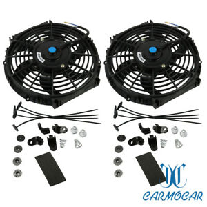 12v Universal 2x 10 Inch Slim Fan Push Pull Electric Radiator Cooling Mount Kit