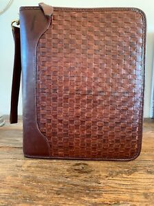 Franklin Quest Brown Woven Calfskin Leather Binder Planner Zip 7 Rings Usa Large