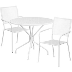 35 25 Round White Indoor outdoor Patio Restaurant Table Set W 2 Chairs