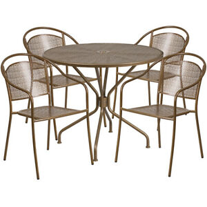 35 25 Round Gold Indoor outdoor Patio Restaurant Table Set With 4 Round Chairs
