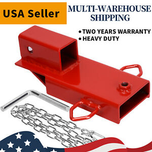 2 Clamp On Forklift Hitch Receiver Pallet Fork Trailer Towing Adapter W Chain