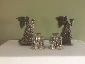 4 International Silver Company Angel Candle Holders 2 Sizes