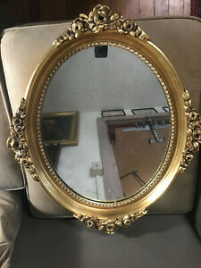 Antique Ornate Gold Gilt Framed Mirror 22 0 Wide X 26 0 Tall X 2 0 Deep