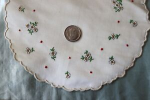 Antique 19thc Victorian Tiny Scale Hand Embroidered Floral Silk 6 Round