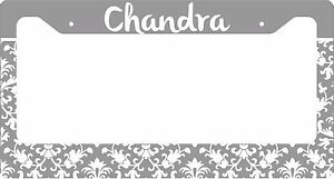 Personalized License Plate Frame Custom Car Tag Gray Damask