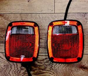 Pair Set Taillights Taillamps Lens Housing Assembly For 91 97 Jeep Wrangler