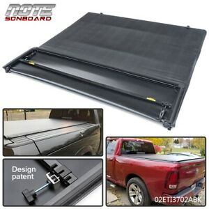 For 2009 2018 Dodge Ram 1500 5 7 Bed Black Tonneau Four Fold Bed Cover