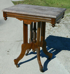 Walnut Victorian Eastlake Marble Top Table Brown Marble