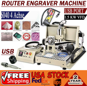 Usb 3 4 Axis Engraver 1 5kw Cnc6040 Router 3d Mill Drill Carving Cutting Machine