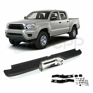 New Chrome Complete Rear Bumper Assembly For 2000 2004 Toyota Tacoma Pickup