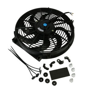 12v Universal 14 Inch Slim Fan Push Pull Electric Radiator Cooling Mount Kit