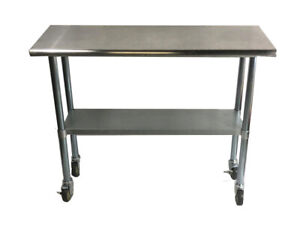 Commercial Stainless Steel Food Prep Work Table 24 X 30 With Casters Wheels
