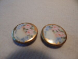 Two 1880s Victorian Porcelain Stud Buttons Gold Edge Pink Roses Hand Painted