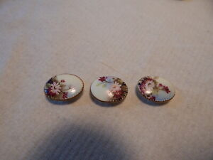Three 1880 Victorian Porcelain Stud Buttons Gold Edge Pink Flower Hand Painted