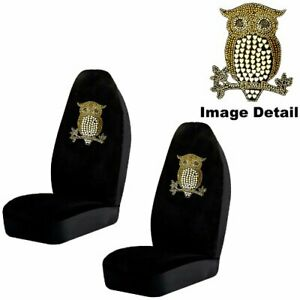 Golden Owl W Hearts Crystal Studded Rhinestone Seat Covers Pair