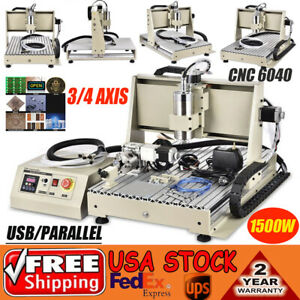 1 5kw 3 4 Axis Usb Cnc Router 6040t Engraver Metal Carver Mill Drilling Machine