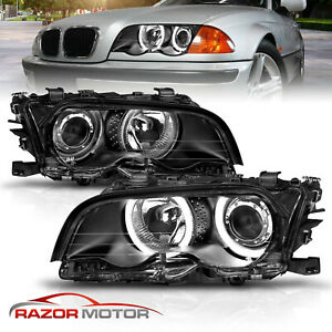 1999 2000 2001 Bmw E46 3 Series 2dr Coupe Black Led Halo Projector Headlights