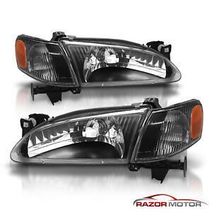 For 1998 1999 2000 Toyota Corolla Black Factory Style Headlights cdrl