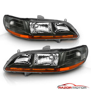 For 1998 1999 2000 2001 2002 Honda Accord Factory Style Black Headlights Pair