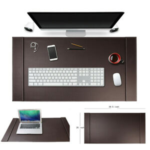 34 x20 Premium Genuine Leather Office Home Desk Mat Large Mouse Mat For Laptop