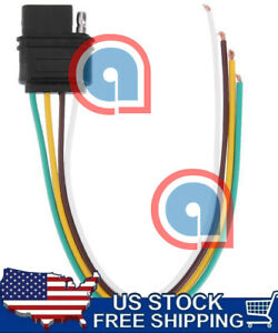 4 Way Flat 4 Pin 1 Feet 12 In Trailer Light Wiring Harness Female Plug Connector
