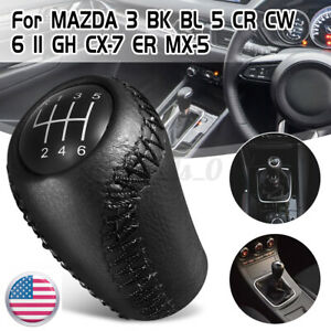 6 Speed Leather Gear Stick Shift Knob Black For Mazda 3 Bk Bl 5 Cr Cw