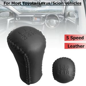 5 Speed Leather Stitch Gear Shifter Shift Knob Head Black For Toyota Lexus